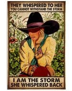 Cow Girl They Wishphered To Her I Am The Storm She Wishpered Back Poster Vintage Retro Art Picture Home Wall Decor Horizontal No Frame Full Size
