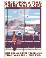 Travelling Girl Once Upon A Time There Was A Girl Poster Vintage Retro Art Picture Home Wall Decor Horizontal No Frame Full Size