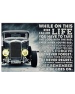 Hot Rod While On This Ride Horizontal Poster - Vintage Retro Art Picture Home Wall Decor No Frame Full Size