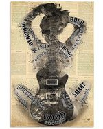 Music And Guitar Girl Strong Beautiful Vertical Poster - Print Perfect, Ideas On Xmas, Birthday, Home Decor, No Frame Full Size