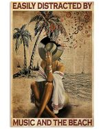 Girl And Beach Easily Distracted By Music Beach Vertical Poster - Print Perfect, Ideas On Xmas, Birthday, Home Decor, No Frame Full Size