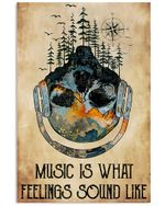 Headphone Art Music Is What Feelings Sound Like Vertical Poster - Print Perfect, Ideas On Xmas, Birthday, Home Decor, No Frame Full Size