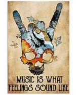 Skull Hand Sign Music Is What Feelings Sound Like Vertical Poster - Print Perfect, Ideas On Xmas, Birthday, Home Decor, No Frame Full Size