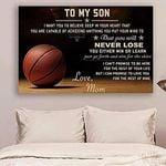 To My Son Poster, BASKETBALL Love From MOM TO SON I Want You to Believe Deep in Your Heart Horizontal Poster No Frame Full Size