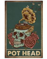 Gramophone Skull And Roses Pot Head Vertical Poster - Print Perfect, Ideas On Xmas, Birthday, Home Decor, No Frame Full Size