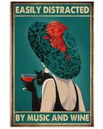 Girl Back Shadow And Black Cat Easily Distracted By Music And Wine Vertical Poster - Print Perfect, Ideas On Xmas, Birthday, Home Decor, No Frame Full Size