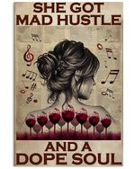 Wine Girl Back Shadow She Got Mad Hustle And Dope Soul Vertical Poster - Print Perfect, Ideas On Xmas, Birthday, Home Decor, No Frame Full Size