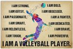 I Am Strong I Am A Volleyball Player Female Artwork Wall Home Decor Horizontal no-Frame Poster