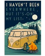 Camping Mountain I Haven't Been Ever Where But It's On My List Poster Vintage Retro Art Picture Home Wall Decor Horizontal No Frame Full Size