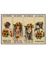 Sunflower Girls Be Strong When You Are Weak Horizontal Poster - Vintage Retro Art Picture Home Wall Decor No Frame Full Size