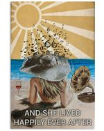 Girl Back Shadow On Beach Wine And Gramophone And She Lived Happily Ever After Vertical Poster - Print Perfect, Ideas On Xmas, Birthday, Home Decor, No Frame Full Size