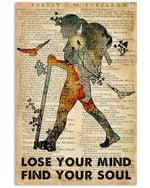 Lose Your Mind Find Your Soul Girl Travelling Into Forest Poster Vintage Retro Art Picture Home Wall Decor Horizontal No Frame Full Size
