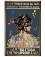 Music Notes Girl Back Shadow Im The Storm She Whispered Back Vertical Poster - Print Perfect, Ideas On Xmas, Birthday, Home Decor, No Frame Full Size