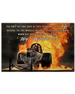 Drag Racing Hey What A Ride Poster Vintage Retro Art Picture Home Wall Decor Horizontal No Frame Full Size