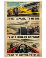 Car Racing  It's My Life It's My Passion It's For Me Poster Vintage Retro Art Picture Home Wall Decor Horizontal No Frame Full Size