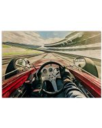 Car Racing For Car Lover Poster Vintage Retro Art Picture Home Wall Decor Horizontal No Frame Full Size