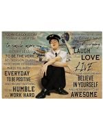 Female Comercial Pilot Follow Your Dream Believe In Yourself Poster Vintage Retro Art Picture Home Wall Decor Horizontal No Frame Full Size