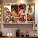 Beautiful Girls Reading Book Be Strong When You Are Weak Horizontal Poster - Vintage Retro Art Picture Home Wall Decor No Frame Full Size