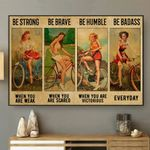 Girls Cycling Horizontal Poster - Vintage Retro Art Picture Home Wall Decor No Frame Full Size