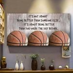 Basketball It's Not About Being Better Than Someone Else Horizontal Poster - Vintage Retro Art Picture Home Wall Decor No Frame Full Size