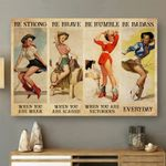 Beautiful Girls Be Strong When You Are Weak Horizontal Poster - Vintage Retro Art Picture Home Wall Decor No Frame Full Size