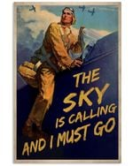 Pilot The Sky Is Calling And I Must Go Poster Vintage Retro Art Picture Home Wall Decor Horizontal No Frame Full Size