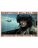 Cat Pilot Choose Something Fun Poster Vintage Retro Art Picture Home Wall Decor Horizontal No Frame Full Size