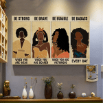 Beautiful Black Girls Be Strong When You Are Weak Horizontal Poster - Vintage Retro Art Picture Home Wall Decor No Frame Full Size