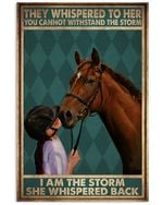 Horse They Wishpered To Her You Cannot Withstand The Storm Poster Vintage Retro Art Picture Home Wall Decor Horizontal No Frame Full Size