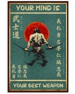 Your Mind Is Your Best Weapon Samurai Poster Vintage Retro Art Picture Home Wall Decor Horizontal No Frame Full Size