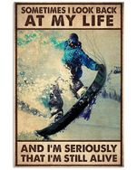 Skiing Sometimes I'm Still Impressed That I'm Still Alive Poster Vintage Retro Art Picture Home Wall Decor Horizontal No Frame Full Size