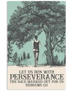 Let Us Run With Perseverance Racing Poster Vintage Retro Art Picture Home Wall Decor Horizontal No Frame Full Size