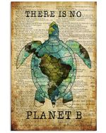 Travelling Turtle There Is No Planet B Poster Vintage Retro Art Picture Home Wall Decor No Frame Full Size