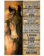 Horse Laugh Love Live Follow Your Dream Poster Vintage Retro Art Picture Home Wall Decor No Frame Full Size