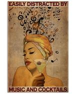 Easily Distracted By Music And Cocktail Poster Vintage Retro Art Picture Home Wall Decor No Frame Full Size