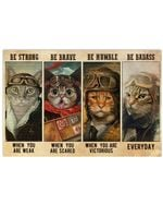 Cat Pilot Be Badass Everyday Horizontal Poster - Vintage Retro Art Picture Home Wall Decor No Frame Full Size