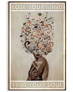 Musical Head Girl And Wine Lose Your Mind Find Your Soul Vertical Poster - Print Perfect, Ideas On Xmas, Birthday, Home Decor, No Frame Full Size