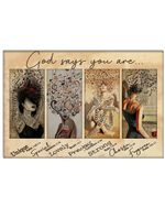 Girls With Musical Head God Says You Are Unique Special Horizontal Poster - Vintage Retro Art Picture Home Wall Decor No Frame Full Size