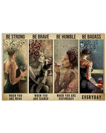 Four Girls And Wine Be Strong When You Are Weak Horizontal Poster - Vintage Retro Art Picture Home Wall Decor No Frame Full Size