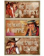 Cowboy Girl The Heart Of A Hippie Vertical Poster - Print Perfect, Ideas On Xmas, Birthday, Home Decor, No Frame Full Size