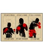Boxing It's Not A Phase It's My Life Horizontal Poster - Vintage Retro Art Picture Home Wall Decor No Frame Full Size