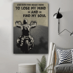 Biker And Into The Road I Ride To Lose My Mind Vertical Poster - Print Perfect, Ideas On Xmas, Birthday, Home Decor, No Frame Full Size