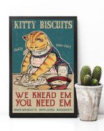 Funny Yellow Cat making Biscuits-Kitty we Knead em You Need em Fluffy Purr-FECT Poster, Vintage Kitty Poster, Retro Style, Wall Decor-No Frame Full Size