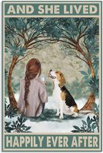 Beagle Dog Poster, and She Lived Happily Ever After Poster No Frame Winter Garden Wall Art House Decor Gift for Dog Lovers on Xmas Birthday