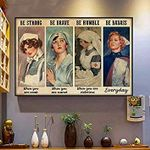 Nurse Poster Be Strong Be Brave Be Humble Be Badass Everyday Poster Nurse's Gift Vintage Retro Art Picture Home Wall Decor Horizontal No Frame Full Size