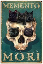 "Vintage Skull Kittens Latin Idioms Memento Mori Remember You Must die Artwork Wall Art Home Decor Vertical no-Frame Poster (12"" x 18"" (1""=2.5cm))"