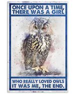 Owl - There Was A Girl Who Really Loved Owls Spread Inspiration Poster - Gift For Home Decor Wall Art Print Vertical Poster No Frame Full Size