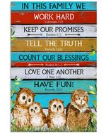 Owl Family - In This Family We Work Hard Have Fun Spread Inspiration Poster - Gift For Home Decor Wall Art Print Vertical Poster No Frame Full Size
