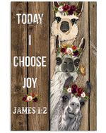 Alpaca Today I Choose Joy Spread Inspiration Poster - Gift For Home Decor Wall Art Print Vertical Poster No Frame Full Size