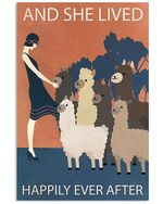 Girl And Alpaca She Lived Happily Ever After Spread Inspiration Poster - Gift For Home Decor Wall Art Print Vertical Poster No Frame Full Size